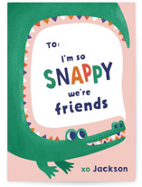 This is a pink kids valentines day card by Monika Drachal called Snappy Friends with standard printing on signature in standard.