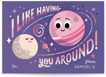 This is a purple kids valentines day card by Morgan Ramberg called I like having you around with standard printing on signature in standard.
