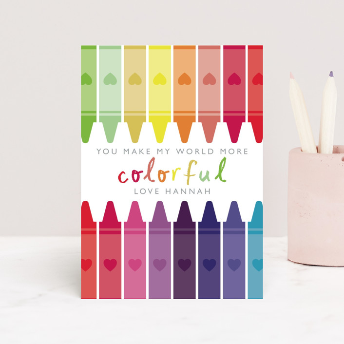 """Colorful"" - Classroom Valentine's Cards in Rainbow by Caitlin Considine."