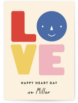 This is a yellow kids valentines day card by Annie Clark called Très Hip with standard printing on signature in standard.