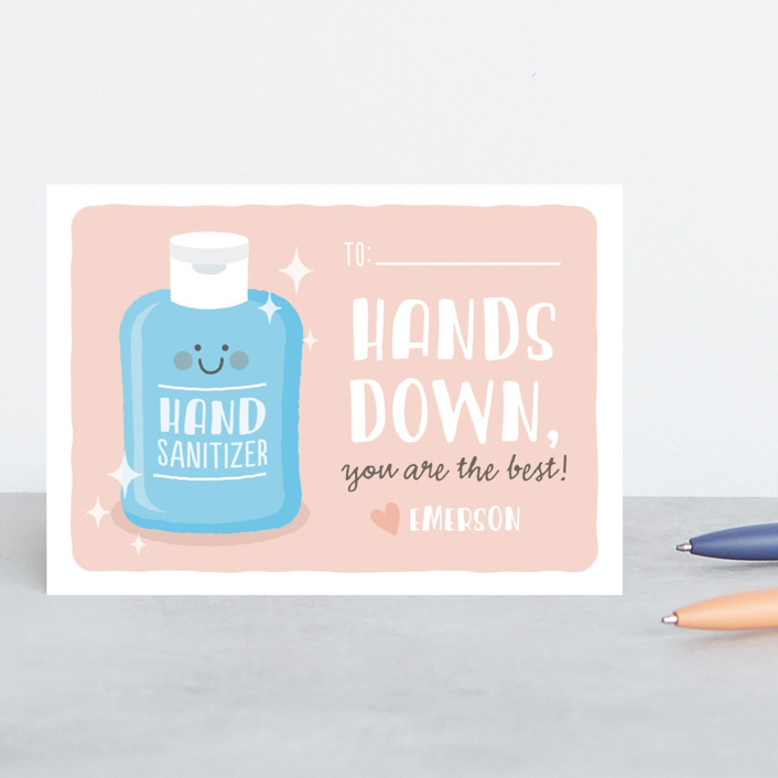 """""""hands down"""" - Classroom Valentine's Cards in Blush by Susan Asbill."""