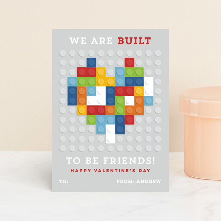 """""""Built to be friends"""" - Classroom Valentine's Cards in Brights by Michelle Taylor."""