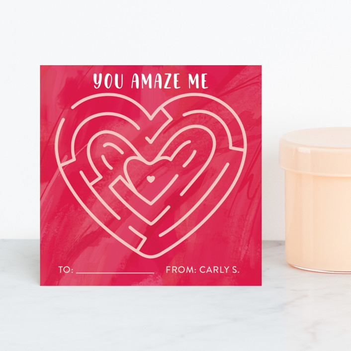 """""""you amaze me"""" - Classroom Valentine's Cards in Rose by Cindy Reynolds."""