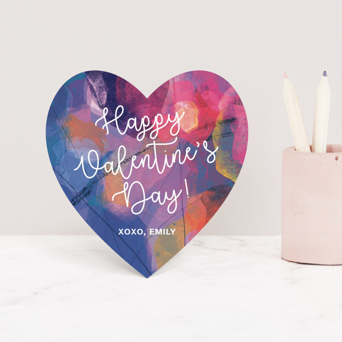 """Painterly Heart"" - Classroom Valentine's Cards in Lavender by Stellax Creative."