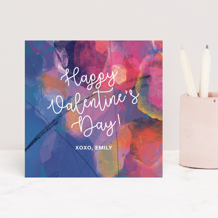 """""""Painterly Heart"""" - Classroom Valentine's Cards in Lavender by Stellax Creative."""
