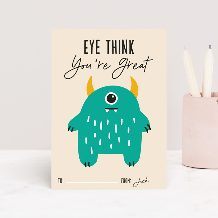 """""""Eye Think You're Great"""" - Classroom Valentine's Cards in Turquoise by Genna Blackburn."""