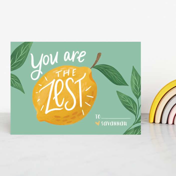 """""""The Zest"""" - Classroom Valentine's Cards in Torquoise by Cindy Reynolds."""