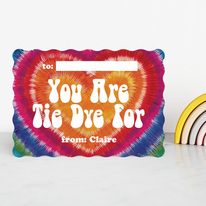 """""""Tie Dye For"""" - Classroom Valentine's Cards in Rainbow by Laura Bolter."""