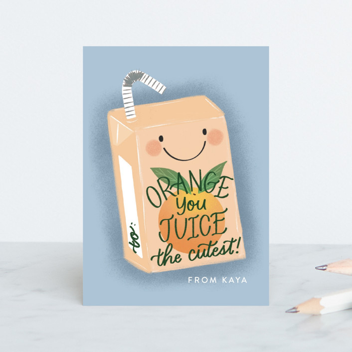 """""""Juice the Cutest"""" - Classroom Valentine's Cards in Periwinkle by Jackie Crawford."""