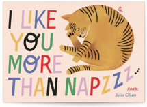 This is a pink kids valentines day card by Pati Cascino called More Than Naps with standard printing on signature in standard.