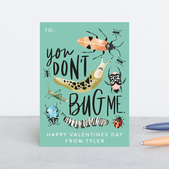 """You Don't Bug Me"" - Classroom Valentine's Cards in Mint by Alethea and Ruth."