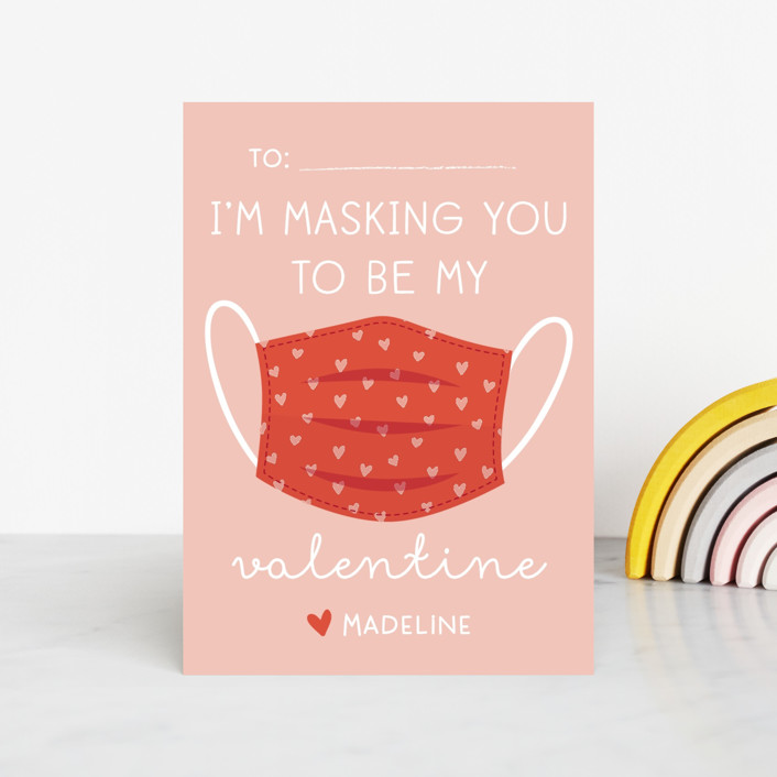 """Mask you"" - Classroom Valentine's Cards in Bubblegum by Annie Holmquist."