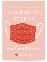 This is a pink kids valentines day card by Annie Holmquist called Mask you with standard printing on signature in standard.
