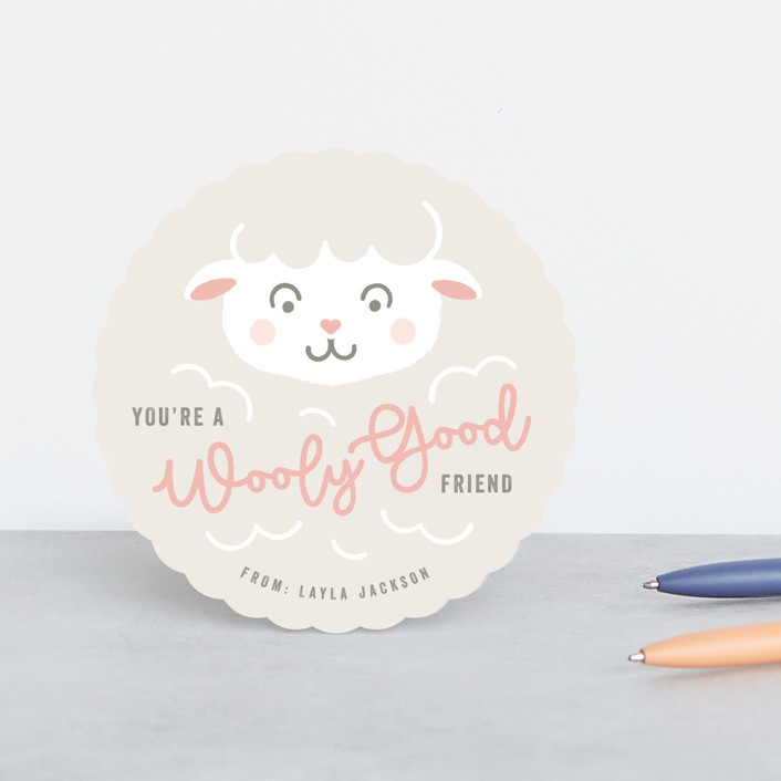 """""""Wooly Warm"""" - Classroom Valentine's Cards in Cream by Michelle Taylor."""