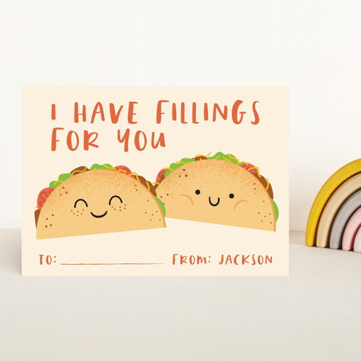 """""""Fillings for you"""" - Classroom Valentine's Cards in Queso by Annie Holmquist."""