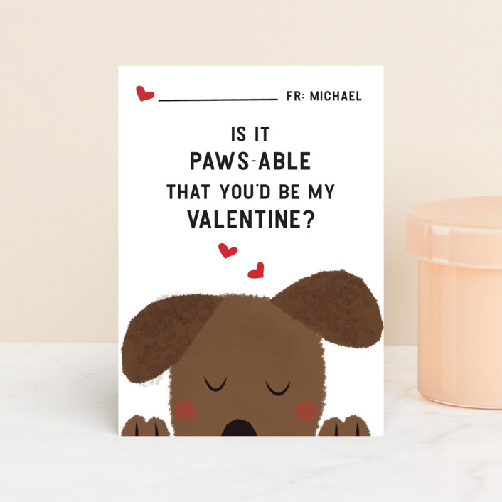 """Paws"" - Classroom Valentine's Cards in Snow by Susan Brown."