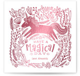This is a pink kids valentines day card by Jessie Steury called Unicorn Garden with foil-pressed printing on signature in standard.