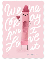 This is a pink kids valentines day card by Lori Wemple called cray with foil-pressed printing on signature in standard.