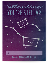 This is a purple kids valentines day card by Jessica Ogden called Stellar with foil-pressed printing on signature in standard.