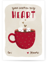 This is a red kids valentines day card by Annie Holmquist called Hot Cocoa with foil-pressed printing on signature in standard.