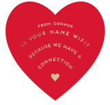 This is a red kids valentines day card by Lori Wemple called wifi with foil-pressed printing on signature in standard.