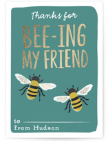 This is a green kids valentines day card by Karidy Walker called friendly bees with foil-pressed printing on signature in standard.