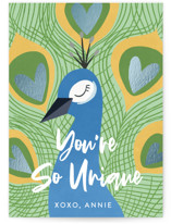 This is a blue kids valentines day card by Ally Madison called Beautiful Bird with foil-pressed printing on signature in standard.