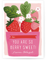 This is a pink kids valentines day card by Karidy Walker called berry basket with foil-pressed printing on signature in standard.
