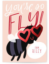 This is a red kids valentines day card by Leah Bisch called So Fly with foil-pressed printing on signature in standard.