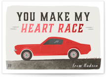 This is a red kids valentines day card by Karidy Walker called sporty race car with foil-pressed printing on signature in standard.