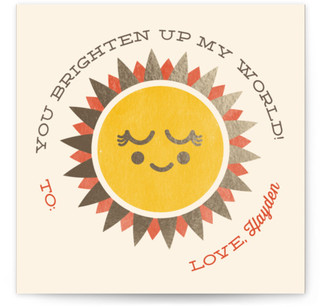 Sunshine Love Foil-Pressed Classroom Valentine's Day Cards