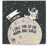 This is a grey kids valentines day card by Sophie Owens called Moon And Back with foil-pressed printing on signature in standard.