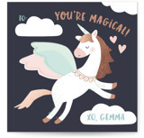 This is a brown kids valentines day card by peetie design called Magical Pegasus with foil-pressed printing on signature in standard.