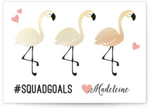 This is a white kids valentines day card by Kacey Kendrick Wagner called Flamingo Squad with foil-pressed printing on signature in standard.