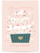 This is a purple kids valentines day card by JeAnna Casper called You're Sweet with foil-pressed printing on signature in standard.