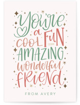 This is a pink kids valentines day card by Amy Payne called Amazing Friend with foil-pressed printing on signature in standard.