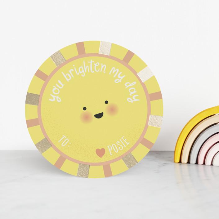 """Sunshine"" - Foil Valentine Cards in Happy by Hudson Meet Rose."