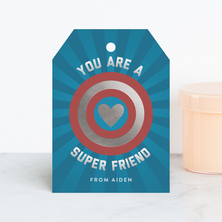 """Super Friend"" - Foil Valentine Cards in Aquarium by Shari Margolin."