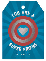 This is a blue kids valentines day card by Shari Margolin called Super Friend with foil-pressed printing on signature in standard.