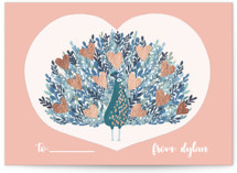 This is a pink kids valentines day card by Afton Harding called Peacock Blooming Love with foil-pressed printing on signature in standard.
