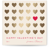 This is a beige kids valentines day card by Alexandra Dzh called Cute hearts with foil-pressed printing on signature in standard.