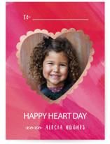 This is a pink kids valentines day card by Hooray Creative called Scalloped Heart with foil-pressed printing on smooth signature in standard.