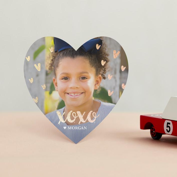 """Glittered XOXO"" - Foil Valentine Cards in Blush by Oma N. Ramkhelawan."