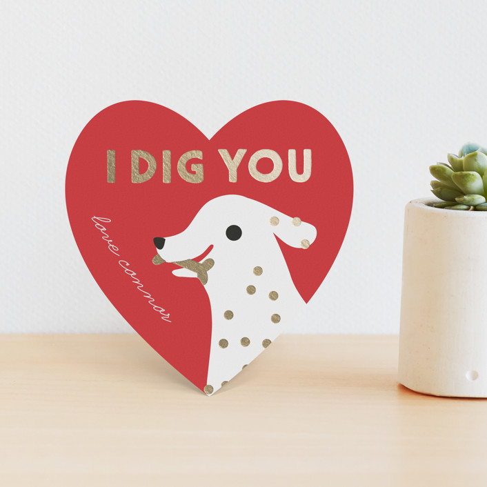 """Dig You"" - Foil Valentine Cards in Ruby by Lori Wemple."