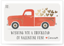 This is a red kids valentines day card by Karidy Walker called Truckload of Fun with foil-pressed printing on signature in standard.