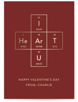 This is a red kids valentines day card by Hannah Saccone called Talk Nerdy to Me with foil-pressed printing on signature in standard.