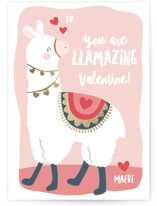 This is a pink kids valentines day card by peetie design called llamazing with foil-pressed printing on signature in standard.