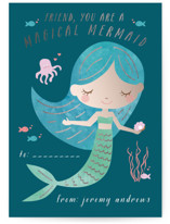 This is a green kids valentines day card by Kanika Mathur called Magical Mermaid with foil-pressed printing on signature in standard.