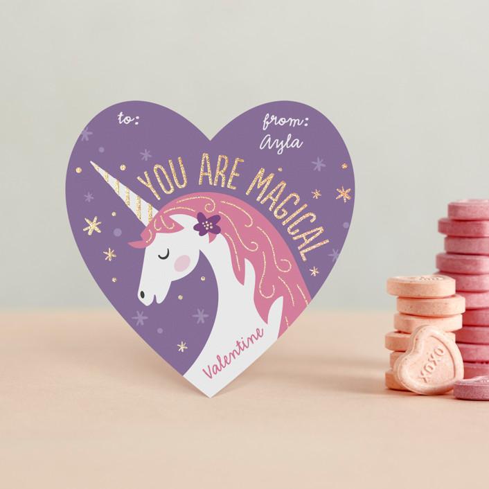 """Magical Valentine"" - Foil Valentine Cards in Lavender by Jana Volfova."