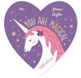 This is a purple kids valentines day card by Jana Volfova called Magical Valentine with foil-pressed printing on signature in standard.